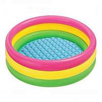 Відкритий круглий надувний дитячий басейн з надувним дном Bestway 51104 вік 3+ обсяг 62 літра кольор