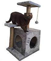 Когтеточка с домиком. Для кошек 46х36х80 см (дряпка угловая) для кошки Серый. Лежанка игровой комплекс для кот