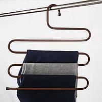 Многофункциональная вешалка для одежды, брюк, полотенец Коричневая, (вішалка для одягу) с доставкой MKRC