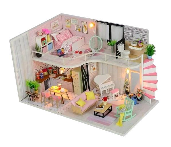 Конструктор для творчества DIY mini house MD 2505 М035, двухуровневая квартира, с подсветкой