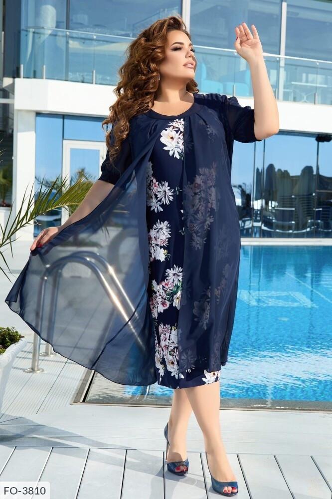 Платье с цветочным принтом (Батал)