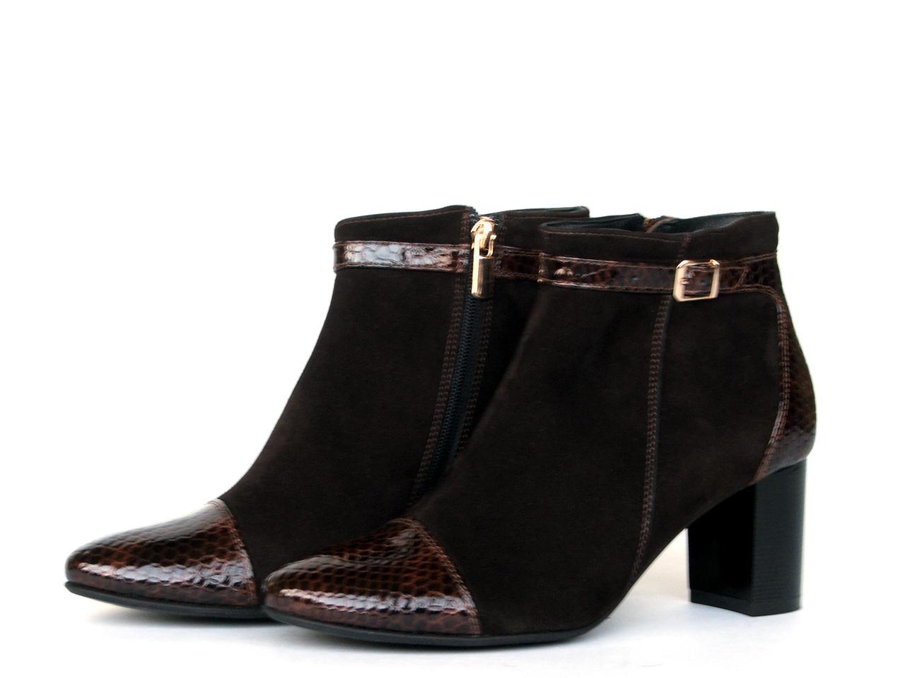 Ботинки женские из комбинированной кожи и замши с ремешком