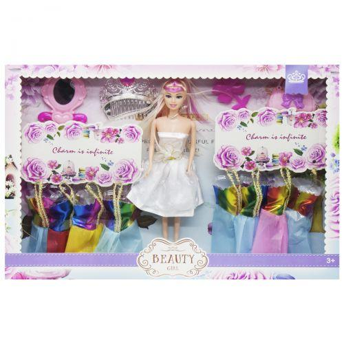 Іграшка Лялька з набором одягу (в білому платті) 013