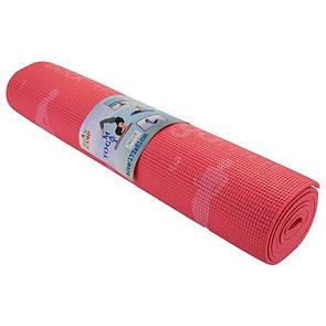 Йогамат, коврик для фитнеса, с рисунком 1730х610х*6 мм, PVC, коралловый