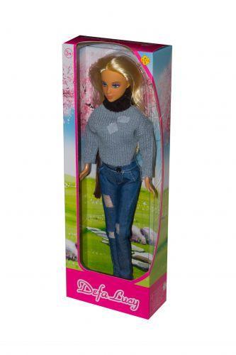 """Іграшка лялька блондинка """"Defa Lucy"""" (в сірому светрі) 8366"""