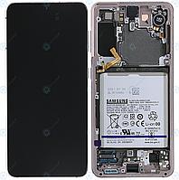 Дисплей для Samsung Galaxy S21 (SM-G991), модуль (экран) с рамкой, розовый, сервисный оригинал (GH82-24716D)