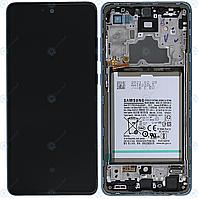 Дисплей для Samsung Galaxy A72 (A725, A726) модуль (экран) с синей рамкой, сервисный оригинал (GH82-25542B)