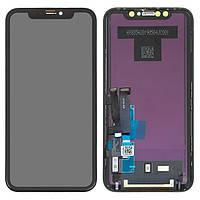 Дисплей для iPhone XR, модуль в сборе (экран и сенсор), с рамкой, черный, TFT (In-Cell ) ALG