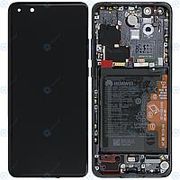 Дисплей для Huawei P40 Pro, модуль (экран и сенсор) с рамкой, акб и датчиками, сервисный оригинал (02353PJG)