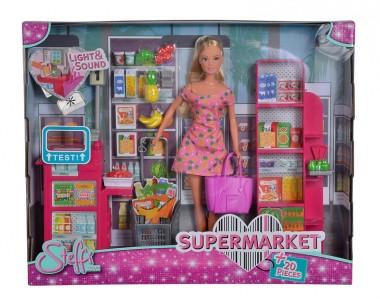 """Игровой набор с куклой Штеффи """"В супермаркете"""", с кассой, со звук. и свет. эффектами, Simba"""