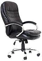 Офисное компьютерное кресло руководителя Валенсия В, крестовина Хром, Черное ТМ Richman