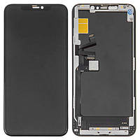 Дисплей для iPhone 11 Pro Max, модуль в сборе (экран и сенсор) с рамкой, черный (TFT, In-Cell, MX)