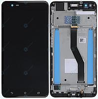 Дисплей для Asus ZenFone 3 Zoom ZE553KL (Z01HD, Z01HDA), модуль (экран и сенсор) с рамкой, черный, оригинал