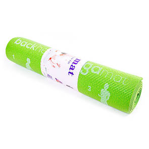 Йогамат, коврик для фитнеса, с рисунком 1730х610х*6 мм, PVC, салатовый