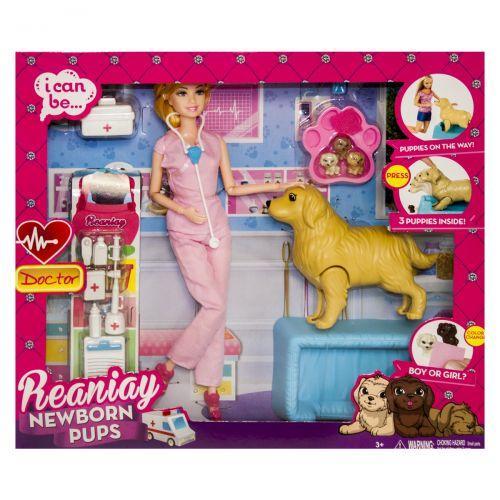 """Игрушка кукла ветеринар """"Newborn Pups"""", розовая CS 699-15"""