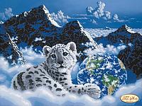 """Схема для частичной вышивки бисером """"Снежный барс. Спасем планету"""""""