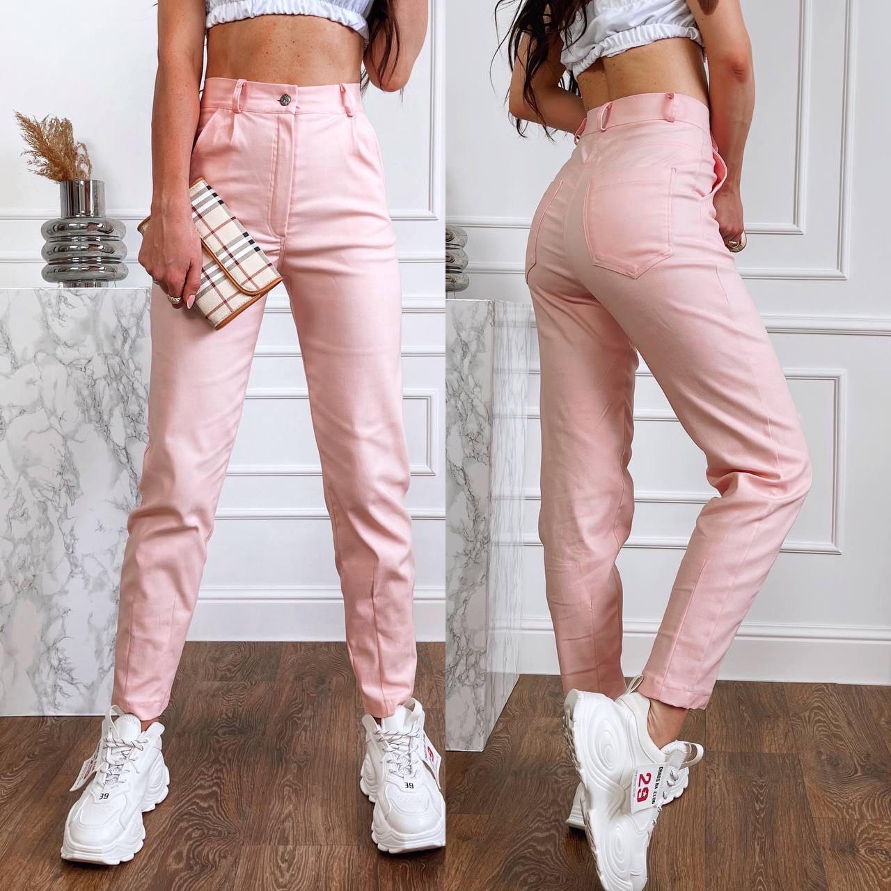 Жіночі брюки, стрейч - джинс, р-р С; М; Л; ХЛ (пудровий)