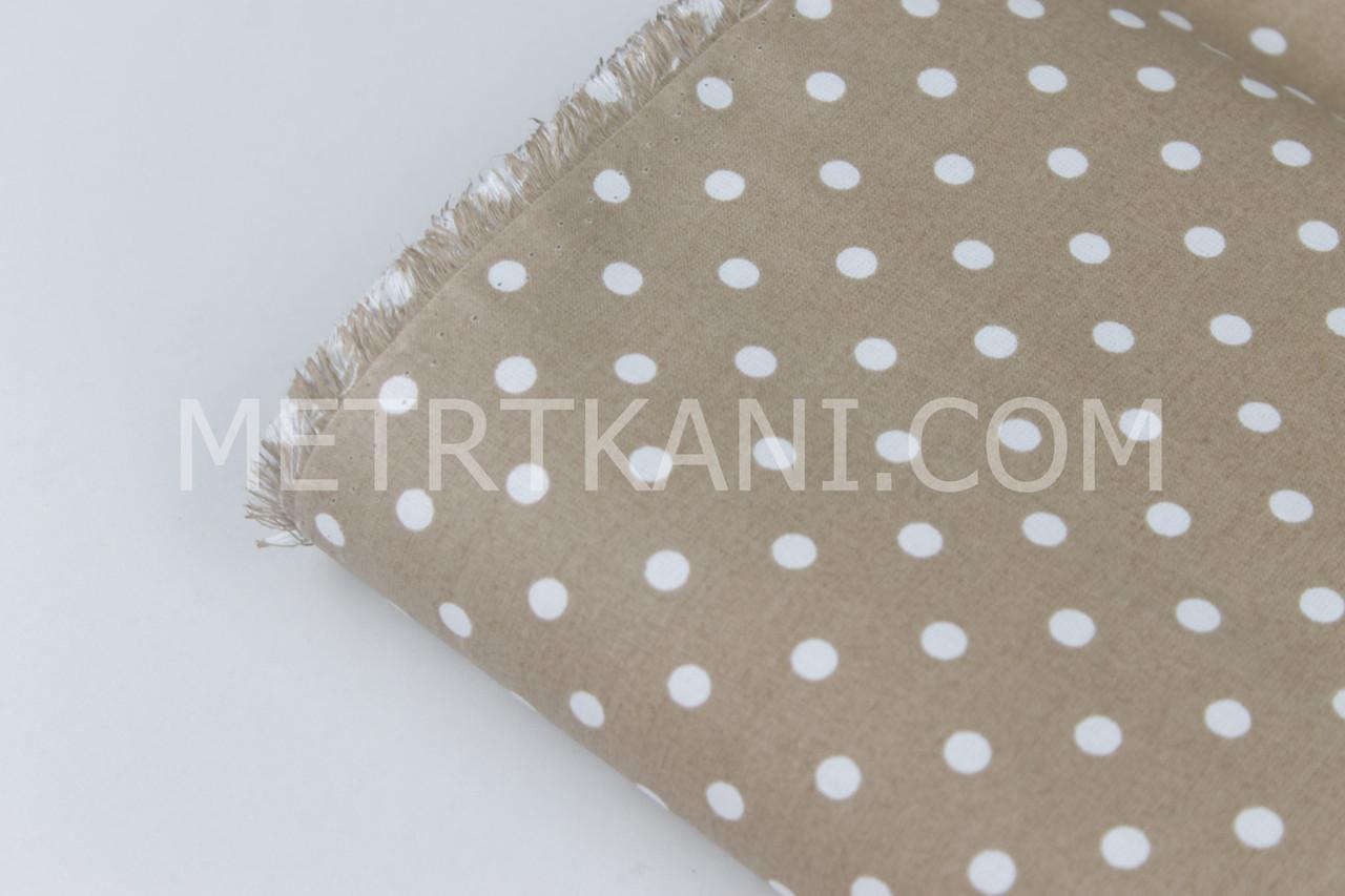 Лоскуток. Бязь коричневого цвета с белым  горохом 7мм, 33*160 см
