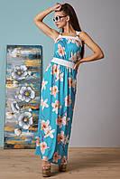 Платье летнее длинное в пол голубого цвета из микромасла удобное на каждый день