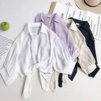 Шифоновая укороченная рубашка с завязкой снизу