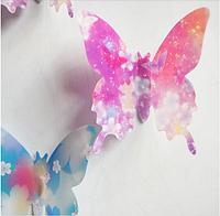 """Наклейка на стену """"12 шт. 3D бабочки наклейки"""" фиолетово-синие цветы"""