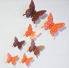"""Наклейка на стену """"12 шт. 3D бабочки наклейки"""" сердечки"""