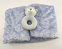 Дитячий плед ковдру Туреччина для новонародженого махра подарунок новонародженому блакитне (НДП12)