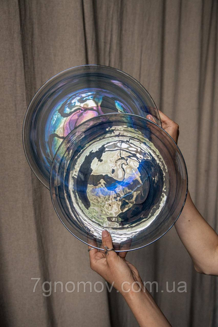 Набор 6 стеклянных обеденных тарелок прозрачно-синий Океан 27 см арт. 16112-14 - фото 5