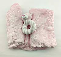 Дитячий плед ковдру Туреччина для новонародженого махра подарунок новонародженому рожеве (НДП31)