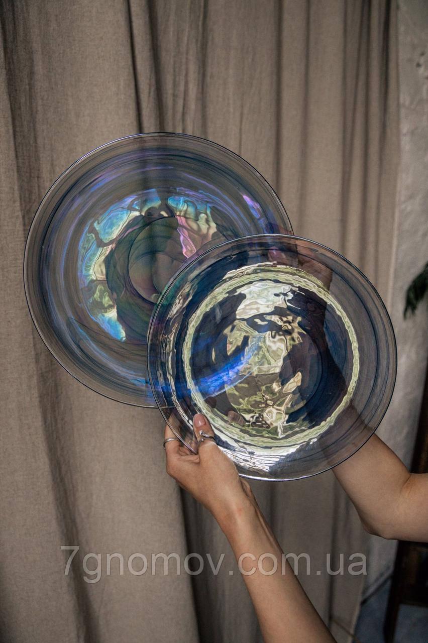 Набор 6 стеклянных обеденных тарелок прозрачно-синий Океан 27 см арт. 16112-14 - фото 7