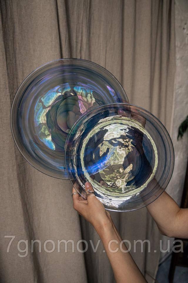 Набор 6 стеклянных обеденных тарелок прозрачно-синий Океан 27 см арт. 16112-14