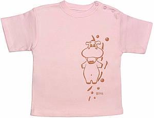 Детская футболка на девочку рост 92 1,5-2 года для малышей с принтом однотонная летняя трикотажная розовая