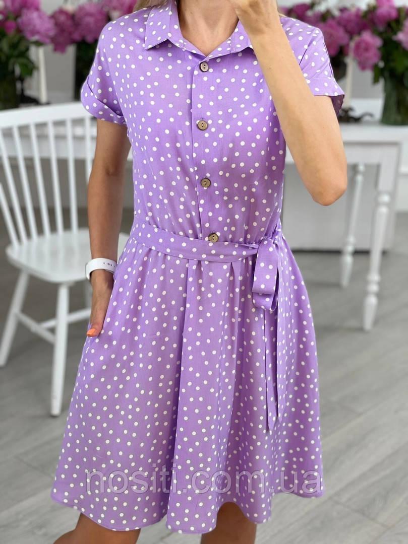 Летнее женское платье в горошек с воротником на пуговицах