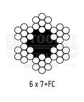 Оцинкованный стальной трос в ПВХ оболочке 3.00мм., (пл.6x7+FC) [20];[200] DIN3055