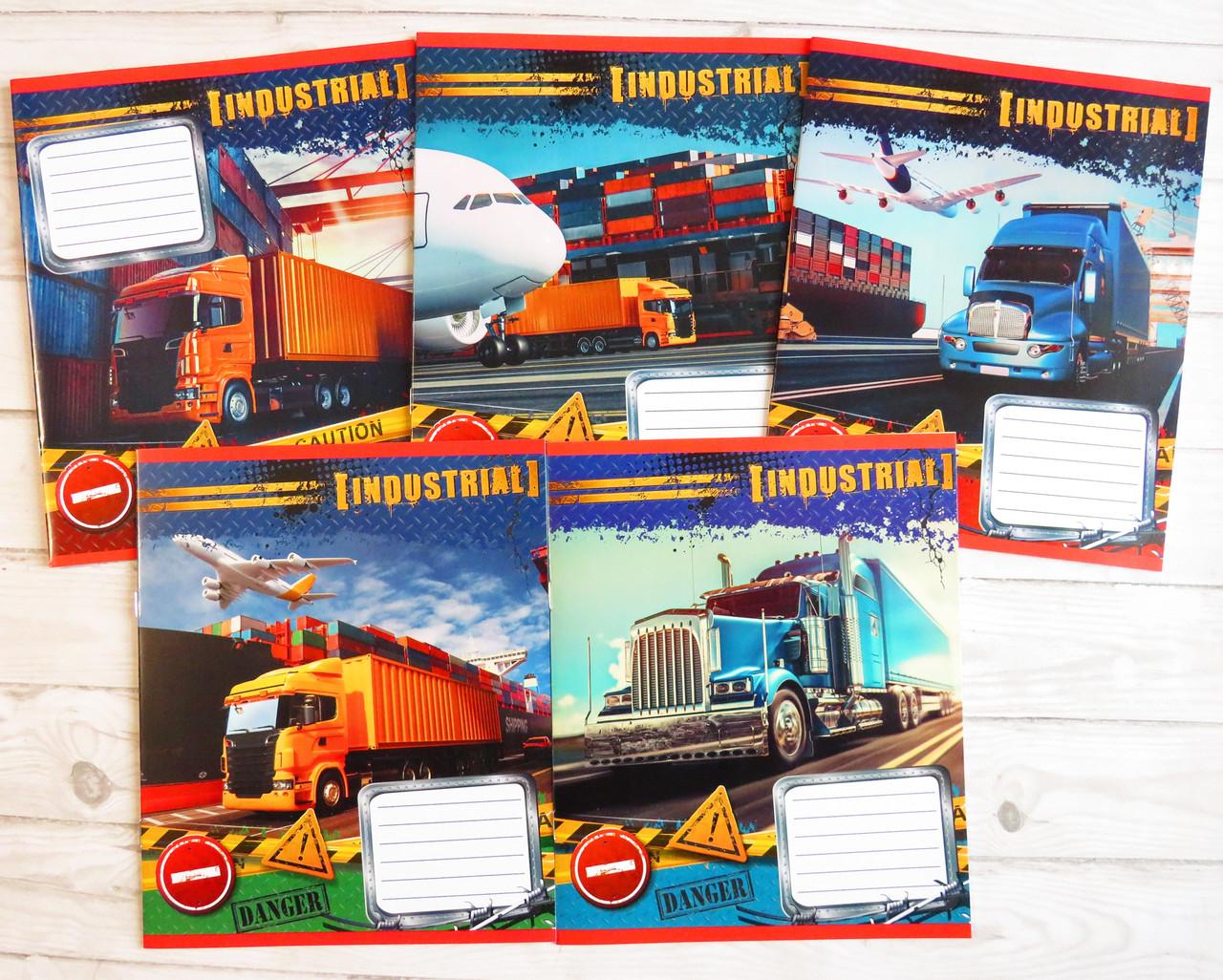 Зошит шкільний в клітинку Лідер, 12 аркушів, вантажівка