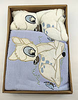 Дитячий плед ковдру Туреччина для новонародженого подарунок новонародженому блакитне (НДП33)