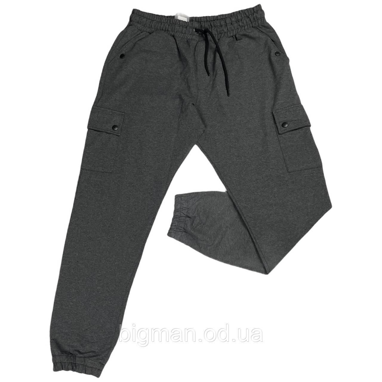Чоловічі спортивні штанці на манжетах IFC 18028 XL 2XL 3XL 4XL 5XL 6XL сірі Туреччина батал великі розміри