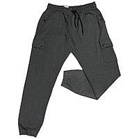 Чоловічі спортивні штанці на манжетах IFC 18028 XL 2XL 3XL 4XL 5XL 6XL сірі Туреччина батал великі розміри, фото 1