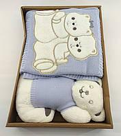 Дитячий плед ковдру Туреччина для новонародженого подарунок новонародженому блакитне (НДП35)