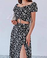 Молодёжный женский летний костюм (Юбка +Топ с открытыми плечами)