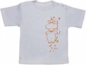 Дитяча футболка на хлопчика ріст 92 1,5-2 роки для малюків з принтом однотонна річна трикотажна блакитна