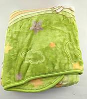 Дитячий плед ковдру Туреччина для новонародженого подарунок новонародженому салатова (НДП39)