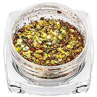 Брокат для декора ногтей 04, голограммное золото
