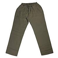 Мужские льняные штаны Dekons 18031 56-62 размера хаки Турция батал большой размер