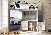 """Кровать чердак  """" Audi r8 2 """" + цельная наклейка на шкаф"""