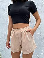 Шорти жіночі вельветові 003 (42-44; 44-46) кольори: бежевий, сірий, шоколад, синій) СП, фото 1