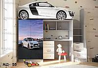 """Кровать чердак  """" Audi r8 3 """" + цельная наклейка на шкаф"""