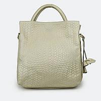 Женская сумка большая с ручками молочная кожаная 8158