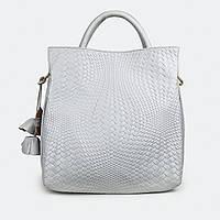 Женская сумка из натуральной кожи светло-серая 8158 большая, фото 1