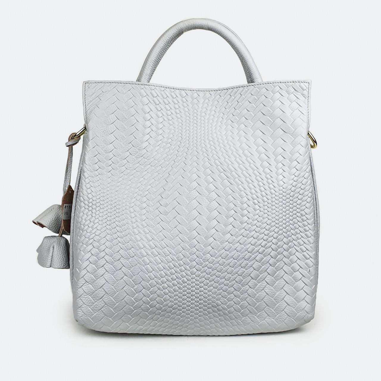 Женская сумка из натуральной кожи светло-серая 8158 большая